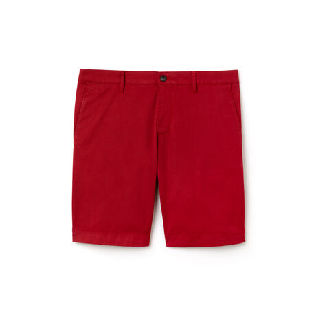 Slim Fit Herren-Bermudas aus Stretch-Baumwolltwill mit Aufdruck