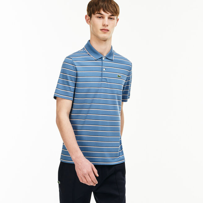 Slim Fit Herren-Polo aus bunt gestreiftem Interlock LACOSTE L!VE
