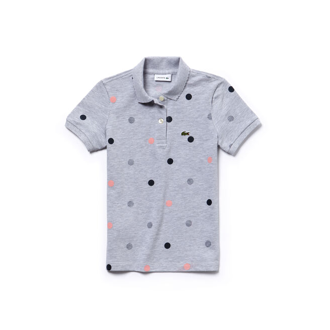 Gepunktetes Mädchen-Poloshirt aus Mini-Piqué aus Baumwolle