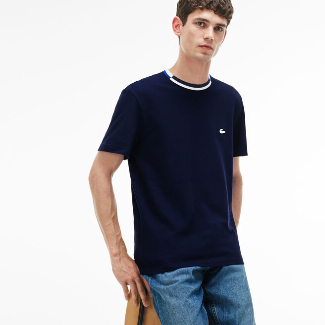 Herren-Rundhals-Shirt aus Petit Piqué mit Kontrastkragen