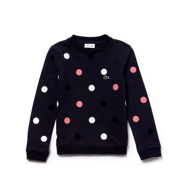 Gepunktetes Mädchen-Sweatshirt aus Baumwollfleece mit Stretch