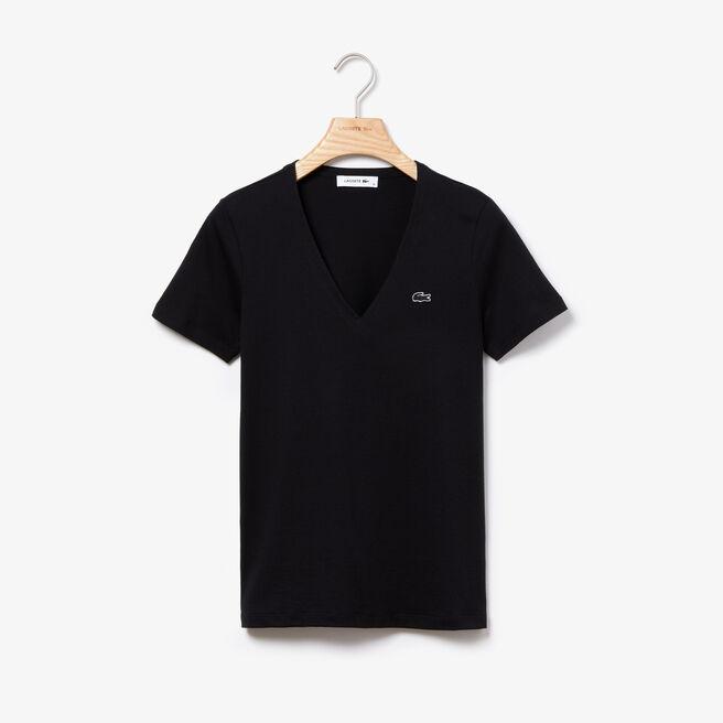 Slim Fit Damen-T-Shirt aus Baumwolljersey mit V-Ausschnitt