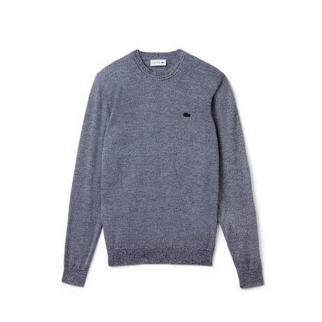 Hochgeschlossener Herren-Pullover aus Woll-Jersey