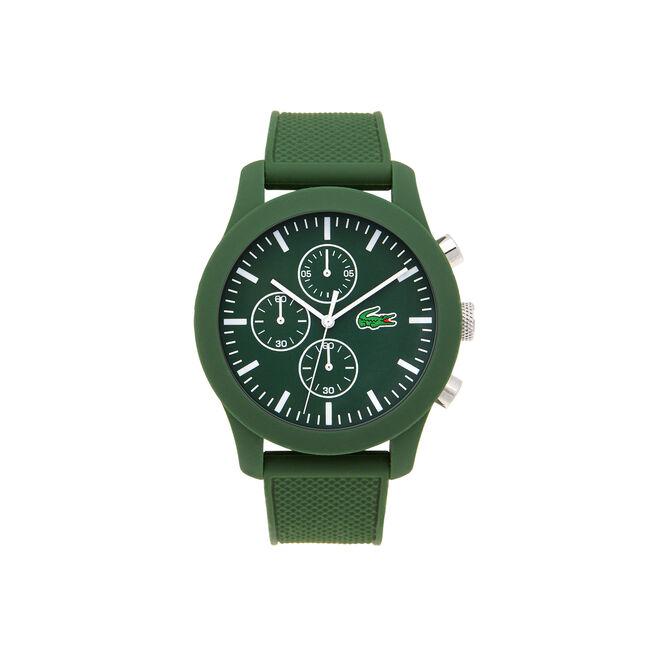 Uhr mit Chronograf und grünem Silikonarmband LACOSTE.12.12