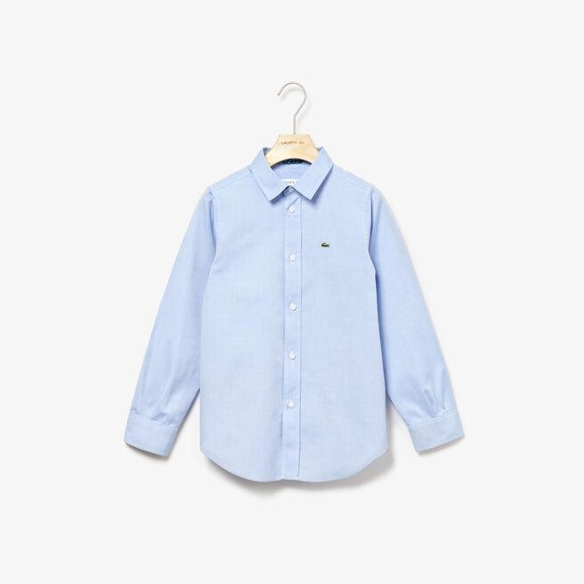 Camisa infantil em malha de algodão Oxford