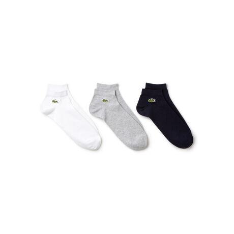 Três pares de meias curtas Lacoste SPORT masculinas em jérsei de cor sólida