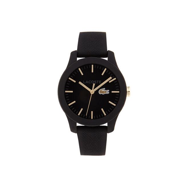 Relógio Lacoste.12.12 com pulseira de silicone preta e detalhes dourados no mostrador