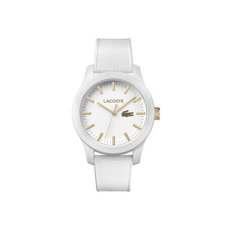 Relógio Lacoste.12.12 com pulseira de silicone branca e detalhes dourados no mostrador