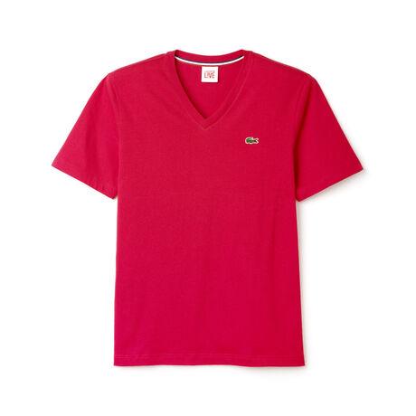 Camiseta Lacoste LIVE ultra-slim fit com gola V, feita em tecido jérsei