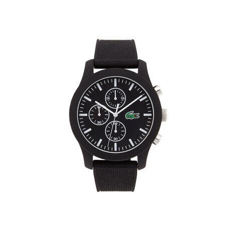 Relógio Lacoste.12.12 com cronógrafo e pulseira de silicone preta