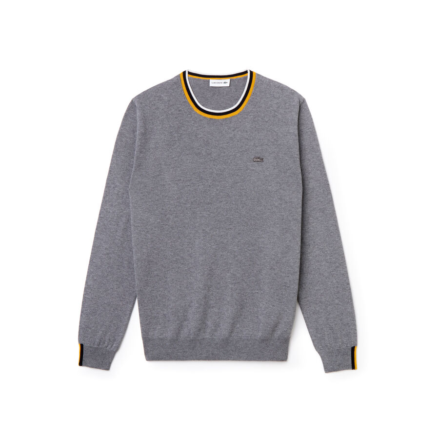 Men's Lacoste Motion Crew Neck Striped Accent Jersey Sweater