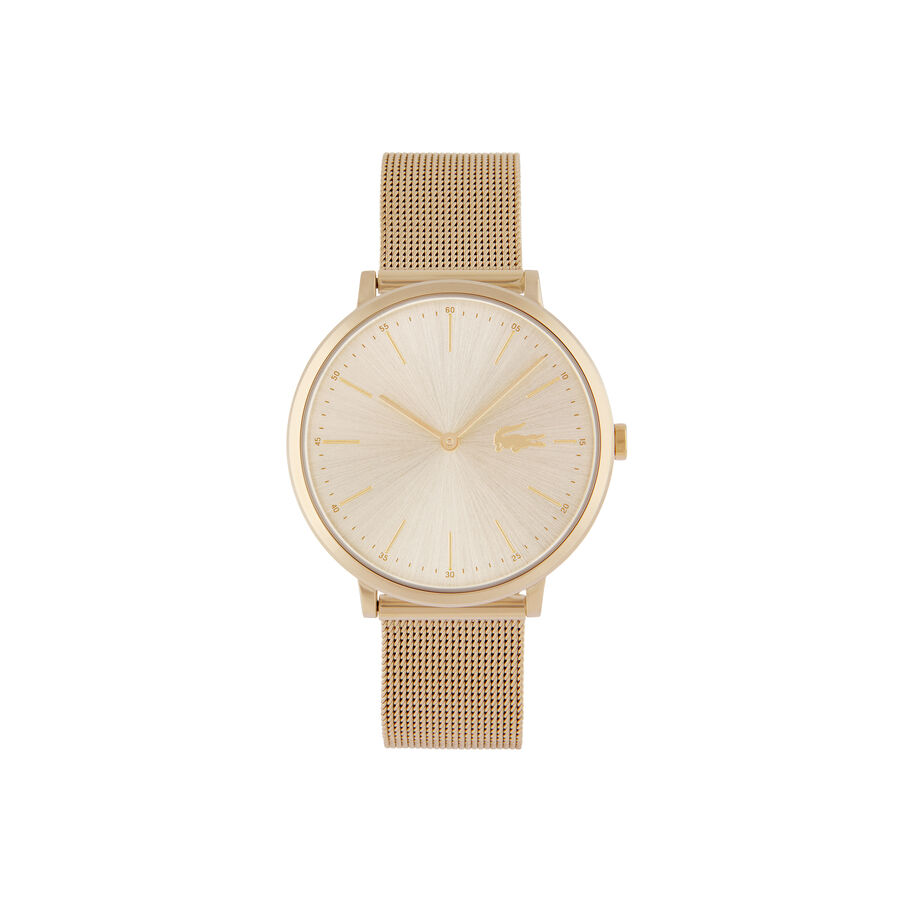 Women's Moon Ultra Slim Watch with Yellow Gold Plated Mesh...