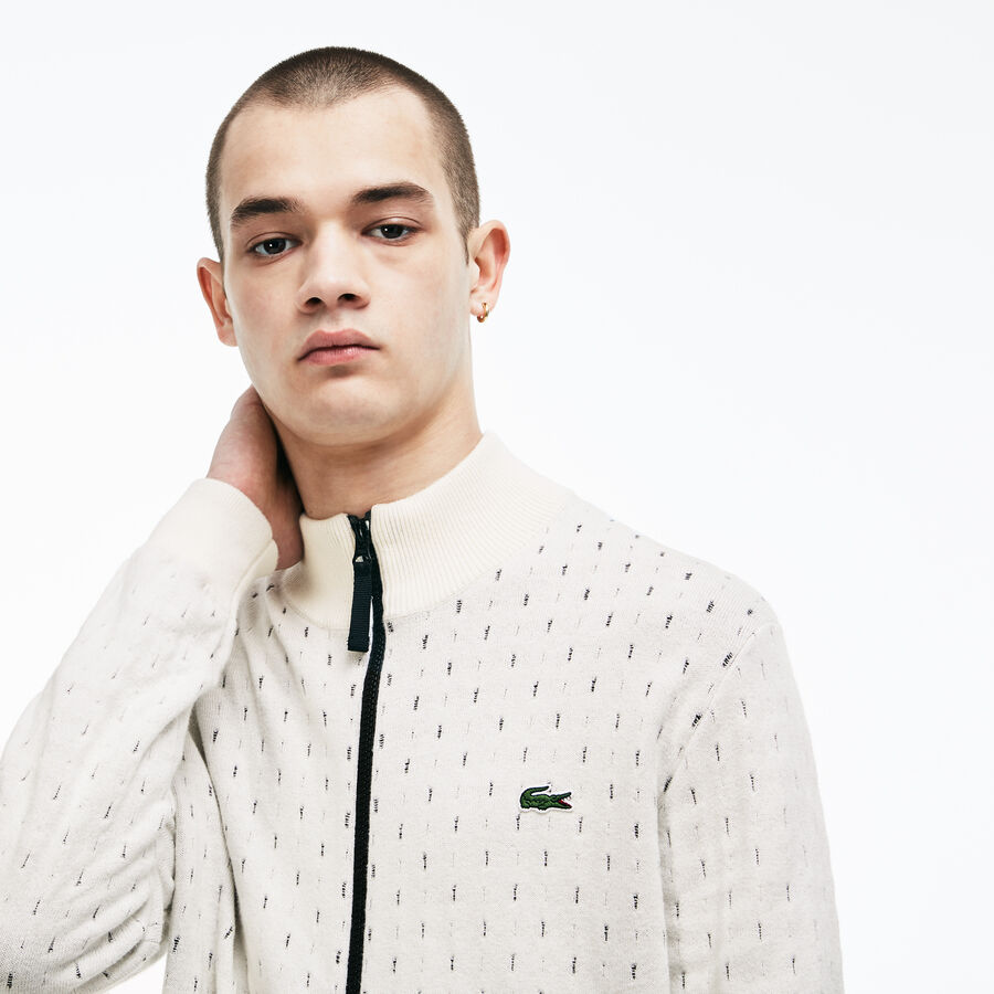 Men's Lacoste LIVE Print Cotton And Cashmere Jacquard Zip Jacket