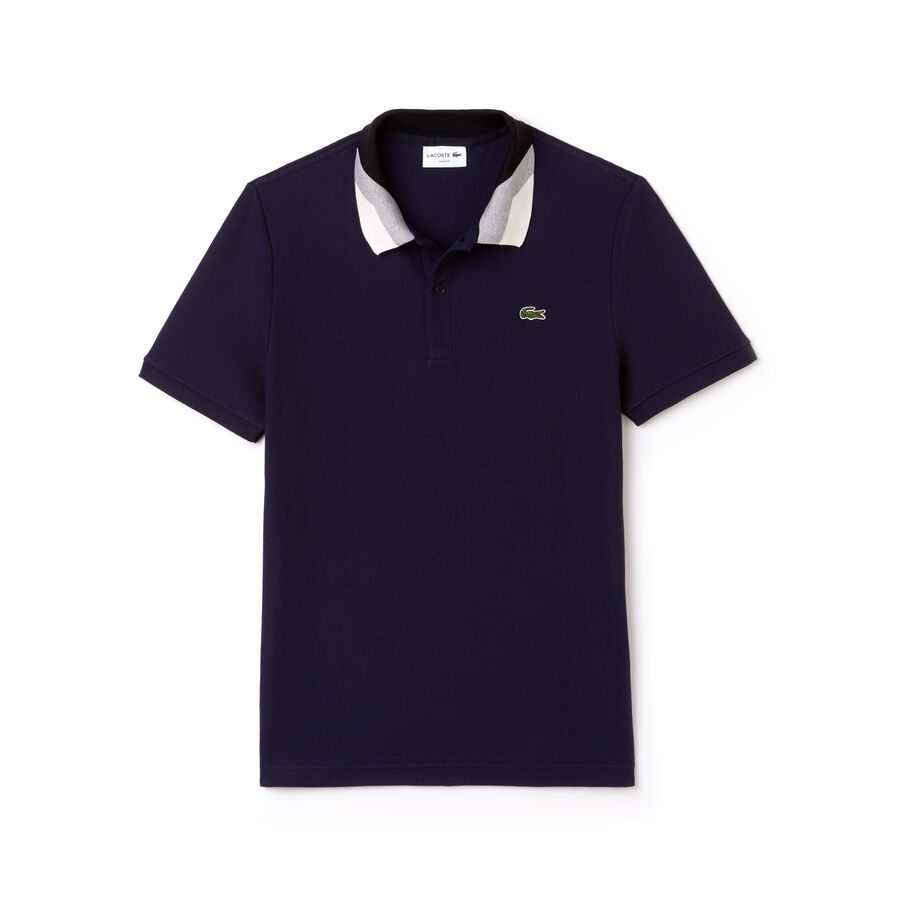 Men's Lacoste Slim Fit Colorblock Striped Knop Piqué Polo Shirt