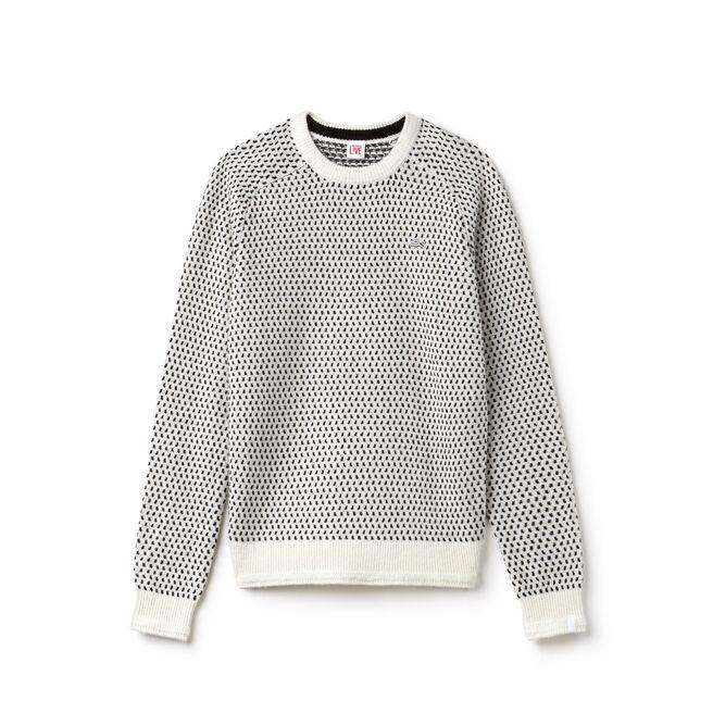 Damen-Rundhalspullover aus Mini-Jacquard mit Wolle LACOSTE L!VE