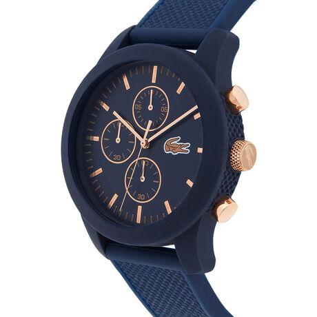 Uhr mit blauem Silikonarmband und Rotgold-Details LACOSTE.12.12