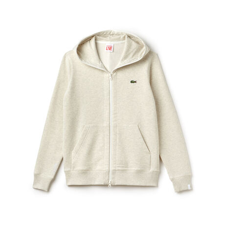 Unisex-Sweatshirt-Jacke aus Baumwolle mit Kapuze LACOSTE L!VE