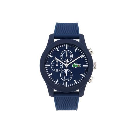 Uhr Lacoste.12.12 Chronograph mit blauer Silikonbeschichtung und blauem Silikonarmband