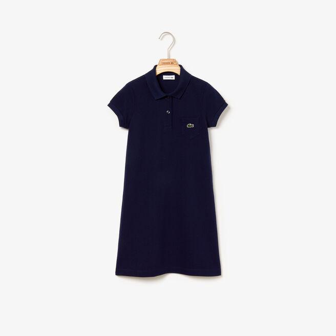 Glockenförmiges Kleid für Mädchen aus einfarbigem Baumwoll-Mini-Piqué