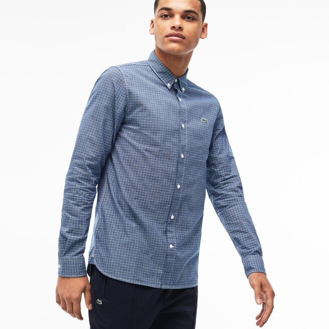 Slim Fit Herren-Hemd aus Salt-and-Pepper-Baumwolle LACOSTE L!VE