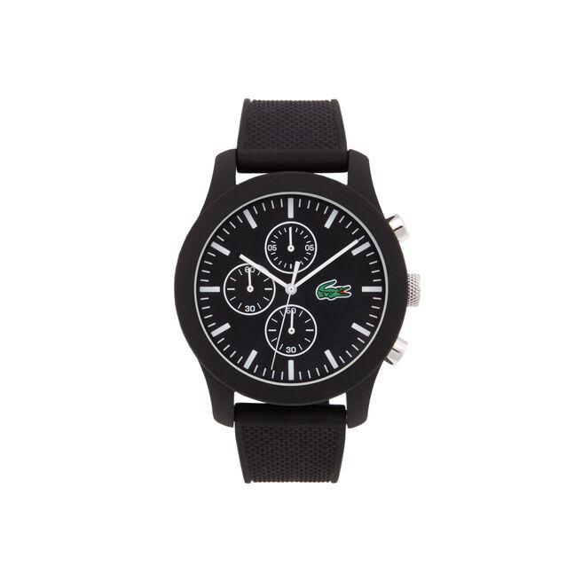 Uhr Lacoste.12.12 Chronograph  mit schwarzer Silikonbeschichtung und schwarzem Silikonarmband