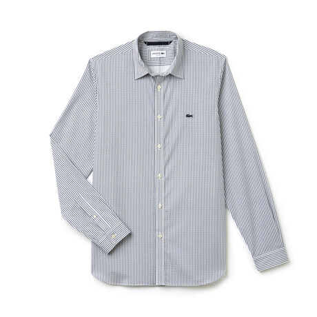 Men's Slim Fit Print Cotton Poplin Shirt