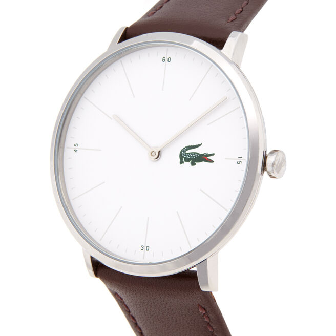 Lacoste Moon Watch Extra-slim white dial Brown leather strap