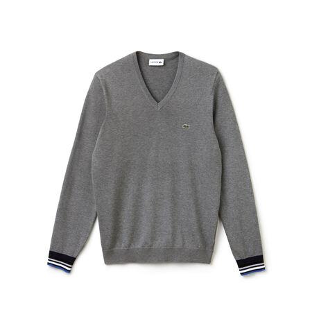 Men's V-neck Contrast Finish Jersey Sweater