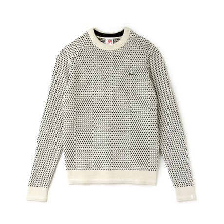 Men's Lacoste LIVE Crew Neck Wool Blend Mini Jacquard Sweater
