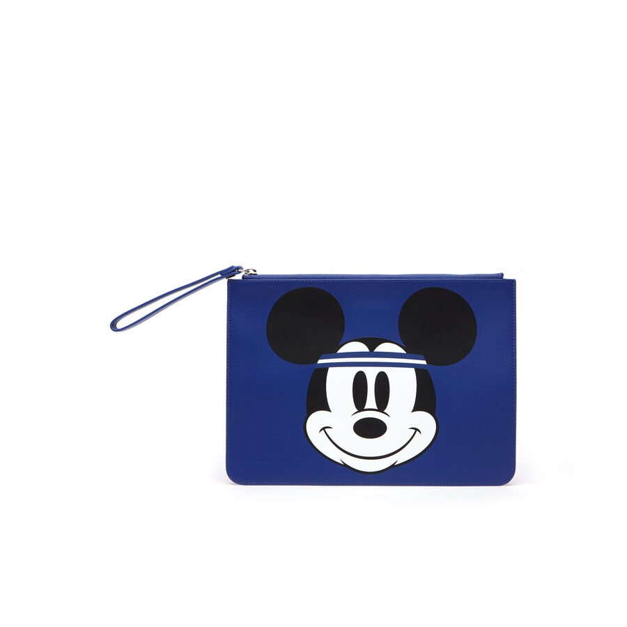 Women's Disney Holiday Collector Mickey Print Leather Zip Pouch