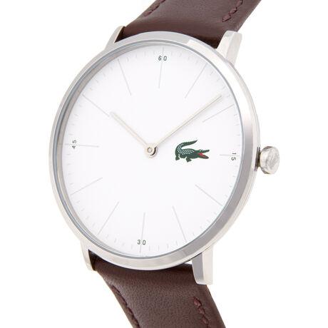 Montre Moon blanche extra-plate - bracelet cuir marron