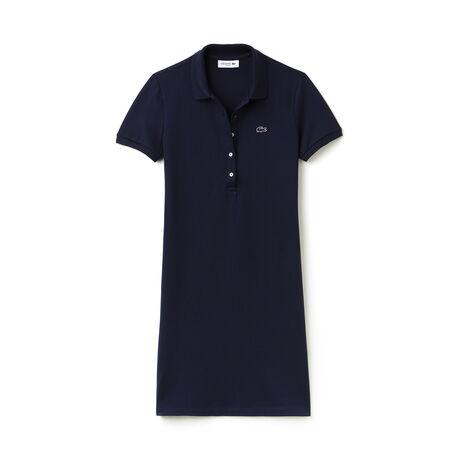 Robe polo en mini piqué de coton stretch uni
