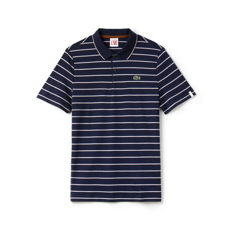 Polo slim fit Lacoste LIVE en interlock de coton rayé coloré