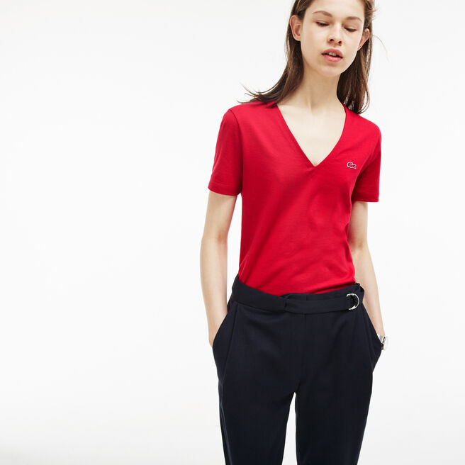 T-shirt col V slim fit en jersey de coton uni