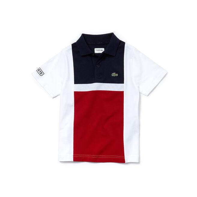 Polo Garçon Tennis Lacoste SPORT en coton ultra léger color block