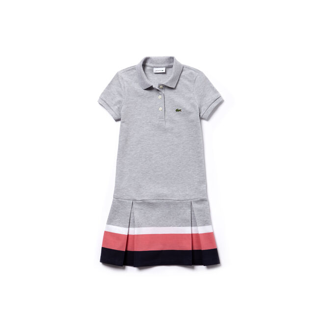 Robe polo plissée Fille en petit piqué avec bandes contrastées