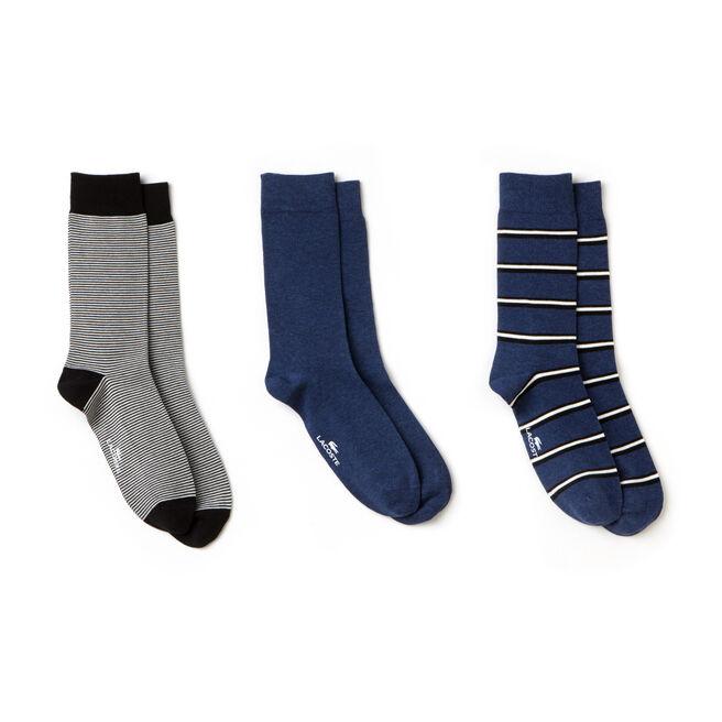 Lot de 3 paires de chaussettes en jersey rayé et uni