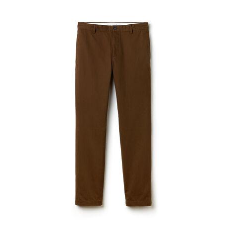 Pantalon chino coupe ajustée en gabardine de coton unie