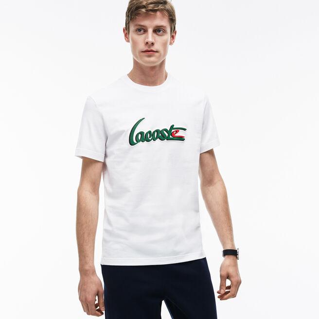 T-shirt col rond en jersey avec inscription LACOSTE en relief