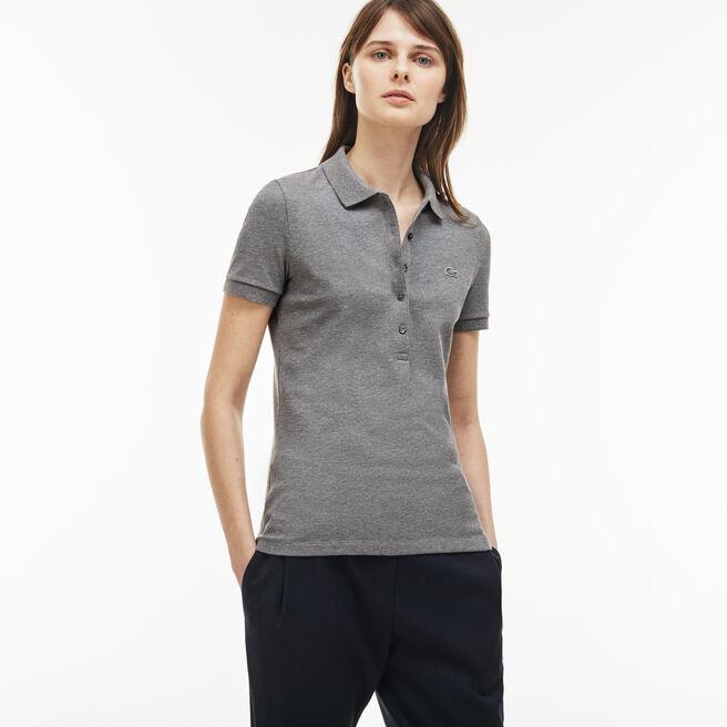 Polo slim fit Lacoste en mini piqué de coton stretch uni