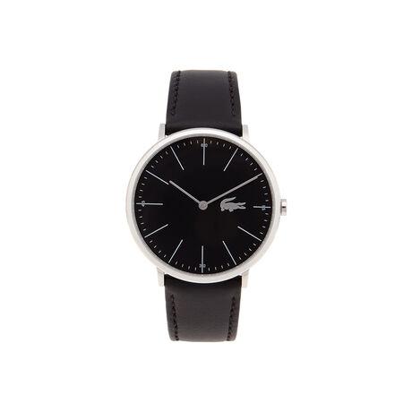 Montre Moon noire extra-plate - bracelet cuir noir