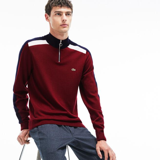 Pull col zippé Made in France en jersey avec bandes color block
