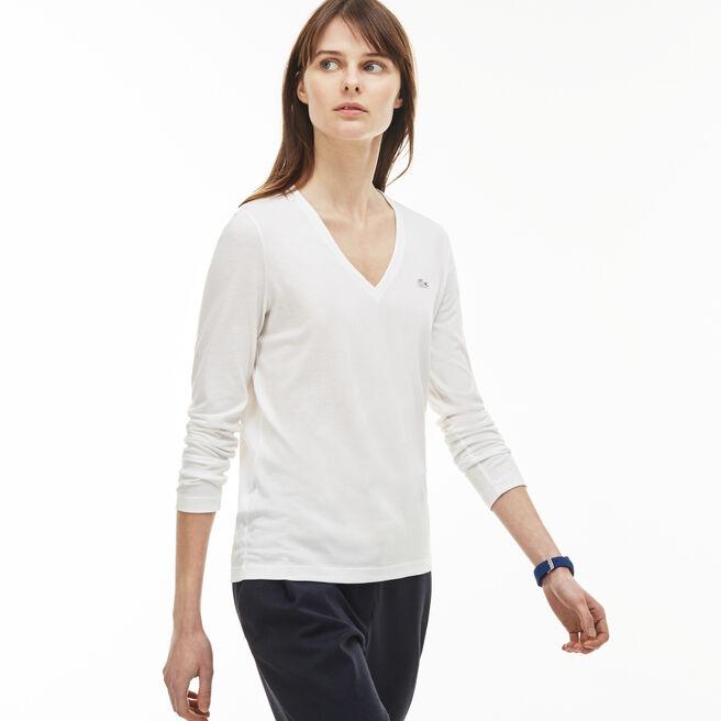 T-shirt col V à manches longues en jersey de coton fluide uni