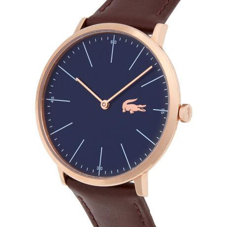 Montre Moon bleu marine extra-plate - bracelet marron