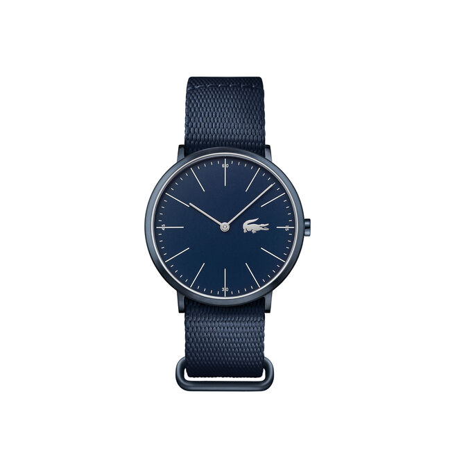 Montre Moon extra-plate cadran bleu - bracelet bleu