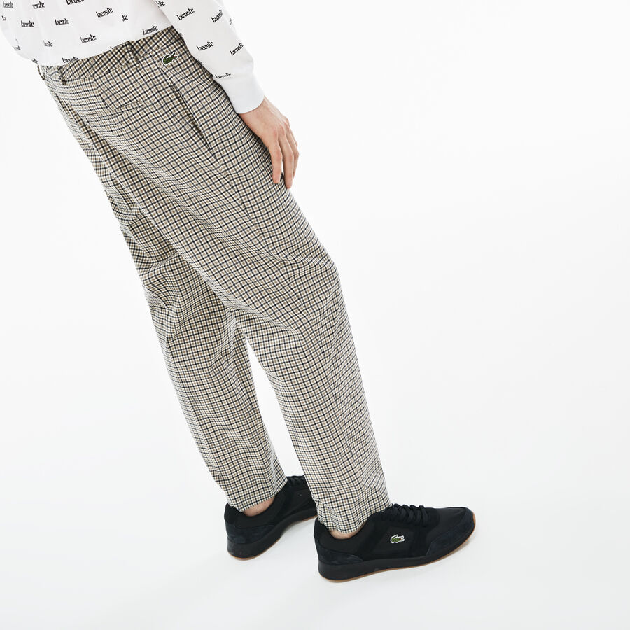 Pantalon chino Lacoste LIVE en twill stretch à carreaux