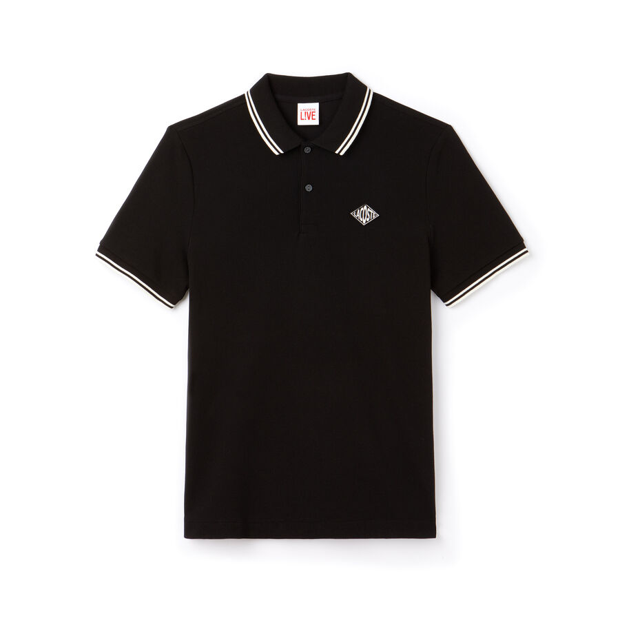 Polo slim fit Lacoste LIVE avec bandes et badge