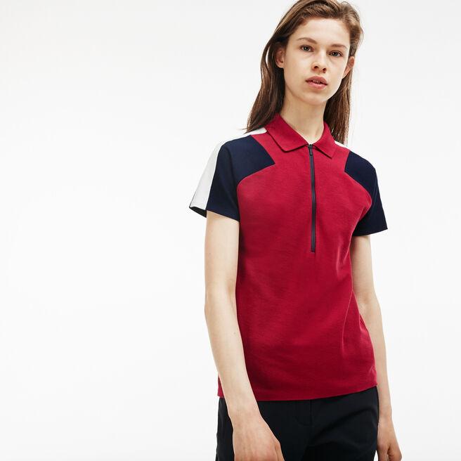 Polo col zippé slim fit Lacoste Made in France en piqué color block