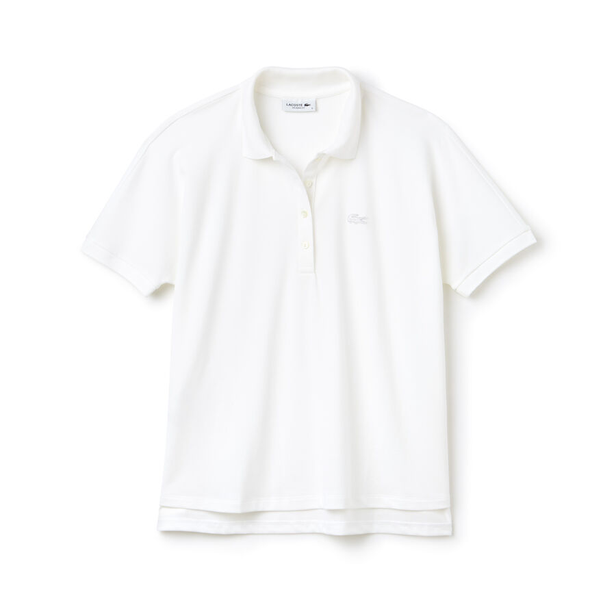 Women's Lacoste Relax Fit Flowing Stretch Cotton Piqué Soft Polo...