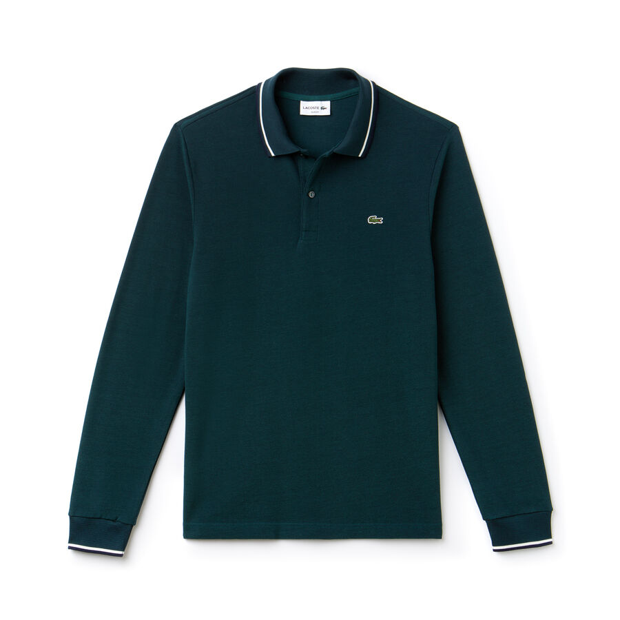 Men's Lacoste Slim Fit Contrasting Accents Caviar Piqué Polo